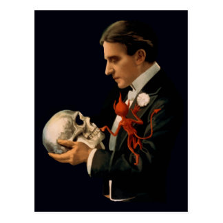 Vintage Magician Thurston holding a Human Skull Post Card
