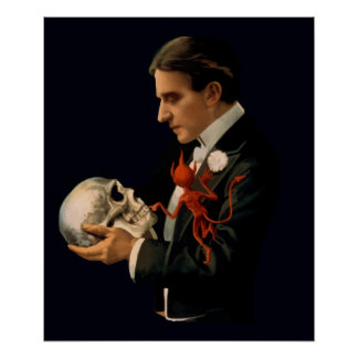 Vintage Magician, Thurston Holding a Human Skull Poster