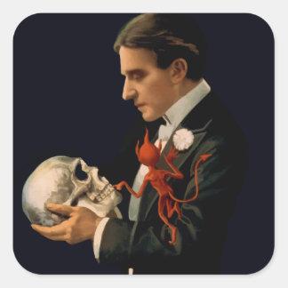 Vintage Magician Thurston holding a Human Skull Square Sticker