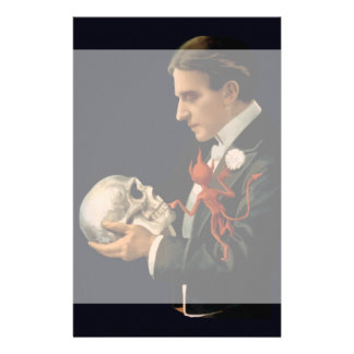 Vintage Magician, Thurston Holding a Human Skull Stationery
