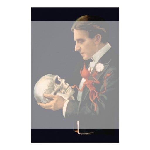 Vintage Magician Thurston holding a Human Skull Stationery Design