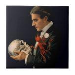 Vintage Magician Thurston holding a Human Skull Tile