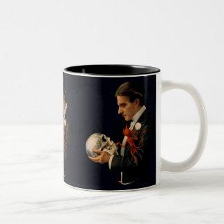 Vintage Magician, Thurston Holding a Human Skull Two-Tone Coffee Mug