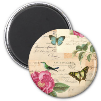 Vintage magnet with roses and butterflies