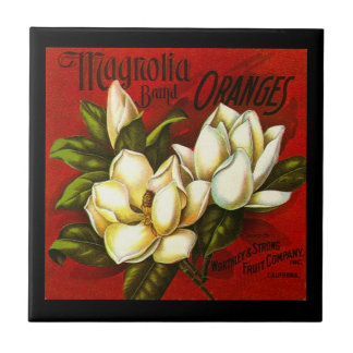 Vintage Magnolia Citrus Orange Crate label Tile