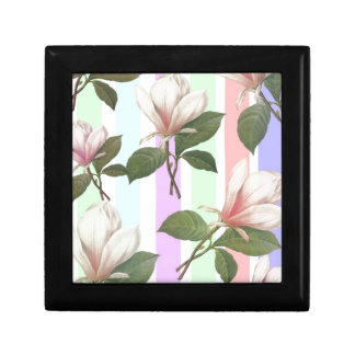 Vintage magnolia floral in soft color strips girly gift boxes
