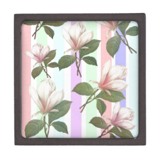 Vintage magnolia floral in soft color strips girly premium gift boxes