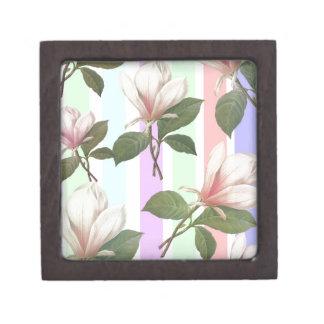 Vintage magnolia floral in soft color strips girly premium trinket box