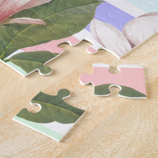 Vintage magnolia floral in soft color strips girly jigsaw puzzles