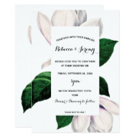 vintage magnolia floral wedding invitation