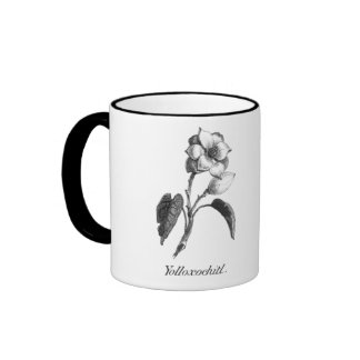 Vintage magnolia flower etching ringer mug