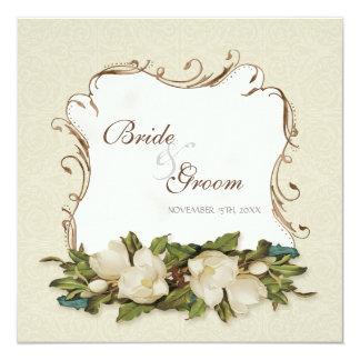 Vintage Magnolia Swirls Damask Wedding Invite