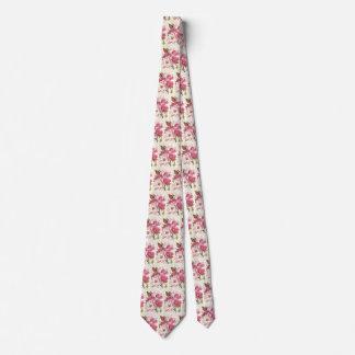 Vintage Magnolia Tree Blossom, Pink Garden Flowers Neck Tie