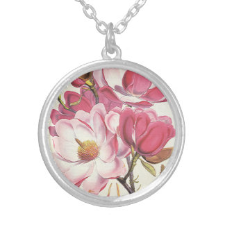 Vintage Magnolia Tree Blossom, Pink Garden Flowers Silver Plated Necklace
