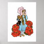 Vintage mago de Oz, Dorothy, flores rojas de la am Poster