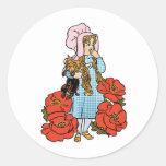 Vintage mago de Oz, Dorothy, flores rojas de la Etiqueta Redonda