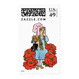 Vintage mago de Oz, Dorothy, flores rojas de la Sello