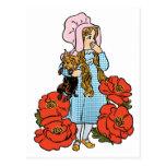 Vintage mago de Oz, Dorothy, flores rojas de la Postal