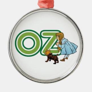 Vintage mago de Oz, Dorothy Toto con las letras Adorno Redondo Plateado
