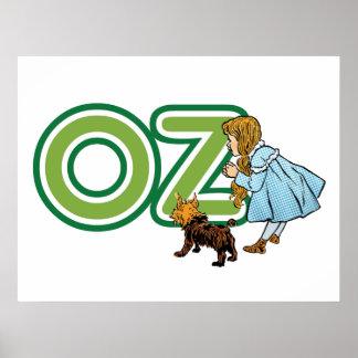 Vintage mago de Oz, Dorothy Toto con las letras Póster