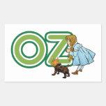 Vintage mago de Oz; Dorothy Toto con las letras Rectangular Pegatinas