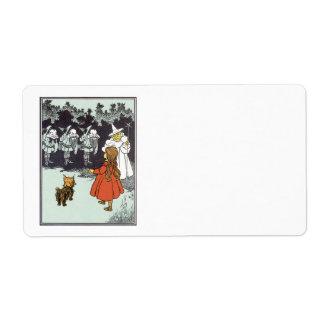 Vintage mago de Oz Dorothy Toto Glinda Munchkins Etiquetas De Envío