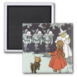 Vintage mago de Oz Dorothy Toto Glinda Munchkins Imán Cuadrado