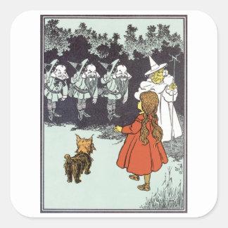 Vintage mago de Oz Dorothy Toto Glinda Munchkins Calcomanías Cuadradass Personalizadas