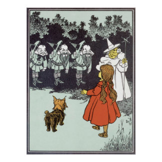 Vintage mago de Oz Dorothy Toto Glinda Munchkins Póster