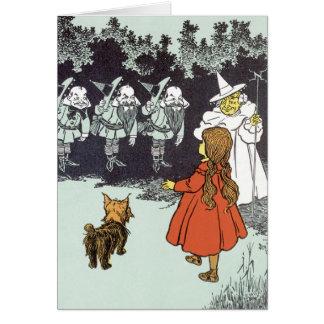 Vintage mago de Oz Dorothy Toto Glinda Munchkins Tarjeta De Felicitación