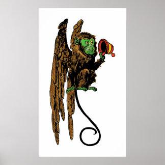 Vintage mago de Oz, gorra malvado del mono del Poster