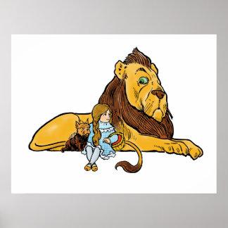 Vintage mago de Oz león cobarde Dorothy Toto Posters