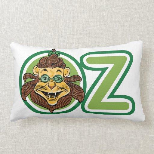 Vintage mago de Oz, león en la letra O Cojín Lumbar