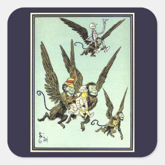 Vintage mago de Oz, monos que vuelan con Dorothy Pegatina Cuadrada