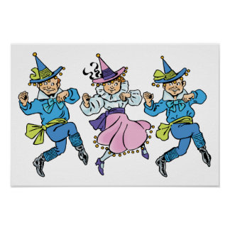 ¡Vintage mago de Oz, Munchkins de baile lindo! Póster