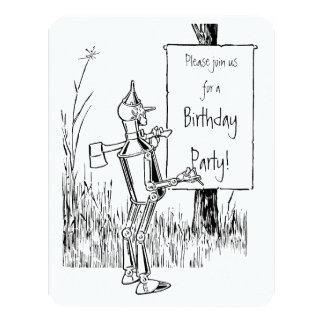 """Vintage mago de Oz. Tinman y cumpleaños del león Invitación 4.25"""" X 5.5"""""""