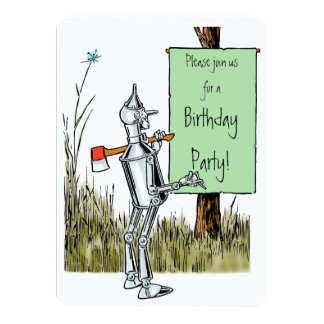 """Vintage mago de Oz. Tinman y cumpleaños del león Invitación 4.5"""" X 6.25"""""""