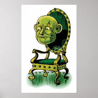 Vintage mago de Oz, trono gruñón de la esmeralda Póster