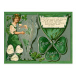 Vintage Maid Harp of Erin St Patrick's Day Card