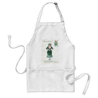 Vintage Maiden Harp of Erin St Patrick's Day Card Adult Apron