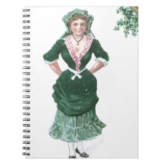 Vintage Maiden Harp of Erin St Patrick's Day Card Notebook