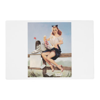 Vintage Mail Pin Up Girl Placemat
