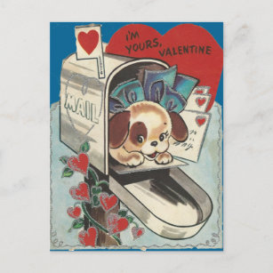 Vintage Mailbox Doggy Valentine Holiday Postcard