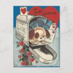 Vintage Mailbox Doggy Valentine Holiday Postcard
