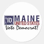 Vintage Maine de Demócrata del voto en 2010 - Pegatinas Redondas