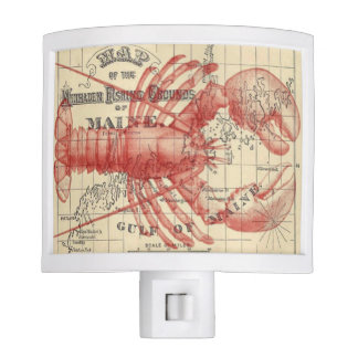 Vintage Maine Map with Lobster Night Light
