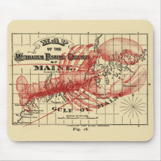Vintage Maine Map with Red Lobster Mouse Pad