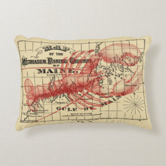 Vintage Maine Map with Red Lobster Pillow