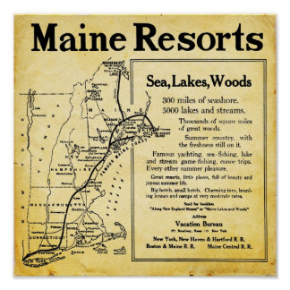 Vintage Maine Resorts With Map Prints Poster