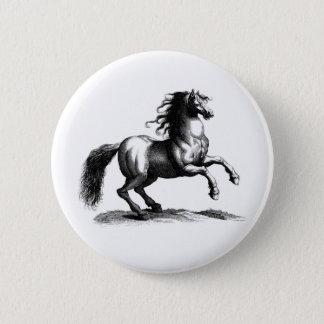 Vintage Majestic Horse Engraving Pinback Button